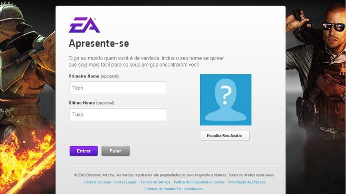Nesta etapa opcional você pode colocar seu nome e um avatar na sua conta do Origin (Foto: Reprodução/Rafael Monteiro)