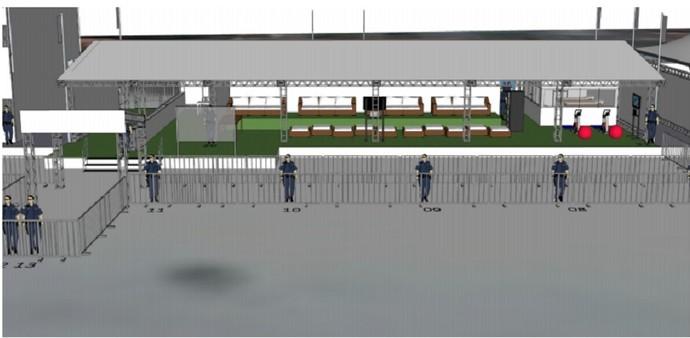 Imagem mostra a área destinada aos atletas (Foto: Reprodução WSL)