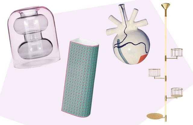 Da esquerda para a direita: vaso Bump, do britânico Tom Dixon; Pinces, da Hermès; e No 4, da marroquina LRNCE. À direita, Flower Pot Lamp, de Chiara Andreatti para a Fendi (Foto: Divulgação)
