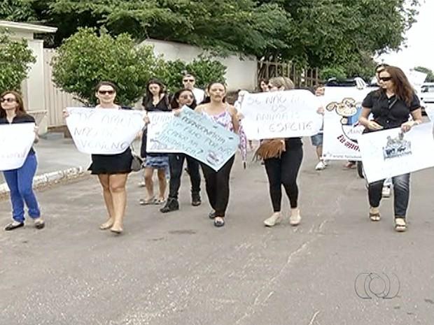 Moradores protestaram contra maus tratos a animais em Gurupi (Foto: Reprodução/TV Anhanguera)