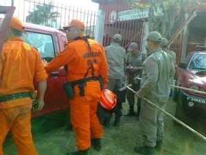 Bombeiros atuam por terra no combate aos incêndios de Petrópolis (Foto: Jairo Martins/Inter TV)