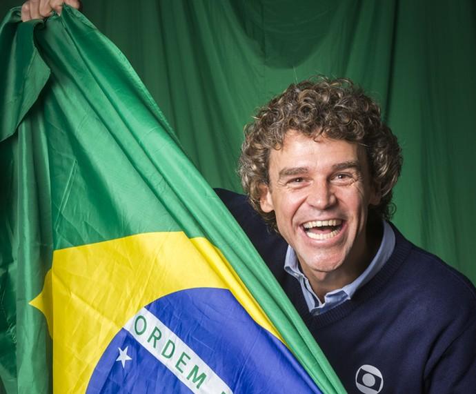 Guga não tira o sorriso do rosto! (Foto: Globo/João Miguel Júnior)