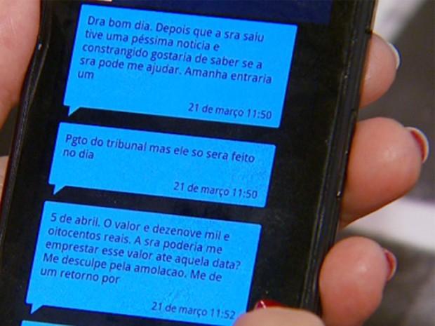 Advogada de Campinas mostra SMS's (Foto: Reprodução / EPTV)