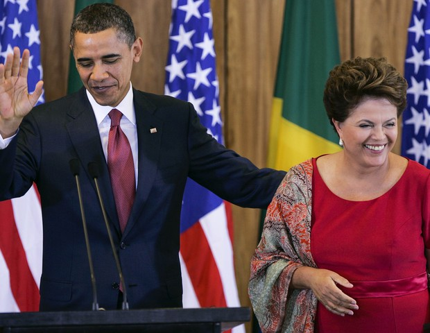 Barack Obama e Dilma Rousseff em Brasília (DF), em 2011 (Foto: getty images)