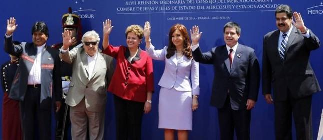 Evo Morales, Jose Mujica, Dilma Rousseff, Cristina Kirchner, Horacio Cartes e Nicol�s Maduro  (Foto: Reuters)