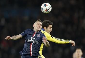 Verratti e Fabregas, PSG x Chelsea (Foto: AP)