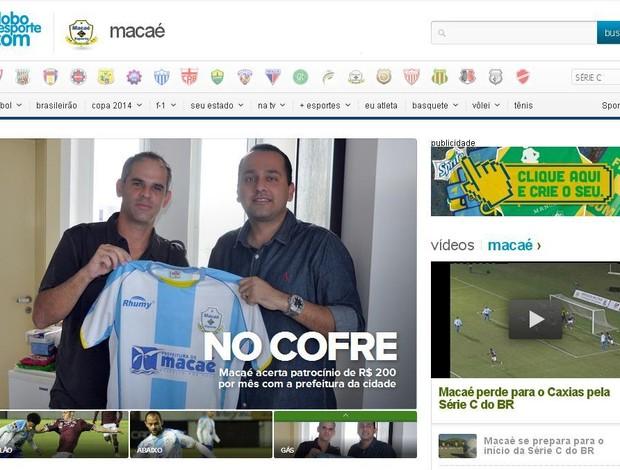 Home Macaé (Foto: Reprodução Globoesporte.com)