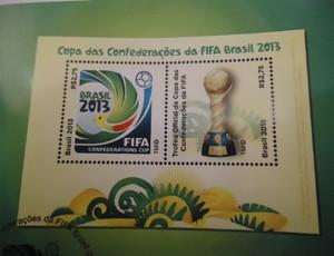 selo comemorativo Copa das Confederações (Foto: Fabrício Marques)