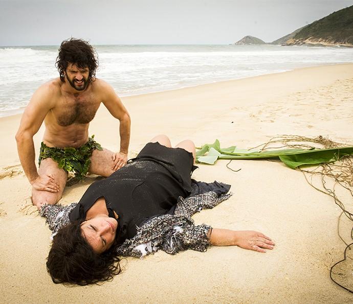 Guilherme Chelucci e Grace Gianoukas em cenas do spin-off de Haja Coração (Foto: João Miguel Jr/Globo)