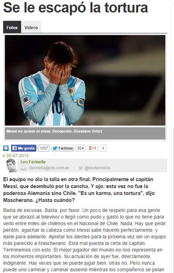Jornal Olé editorial Messi (Foto: Reprodução / Olé)