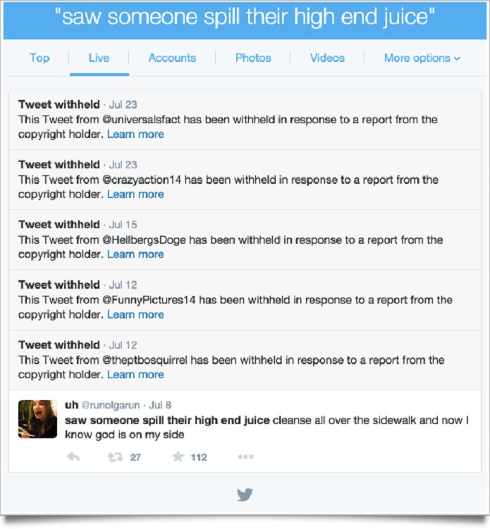 Exemplo de tuítes que foram deletados por causa de direitos autorais (Foto: Reprodução/The Verge)