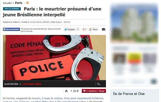 Manchete do Le Parisien: Suposto assassino de jovem brasileira é preso (Foto: Reprodução/Le Parisien)