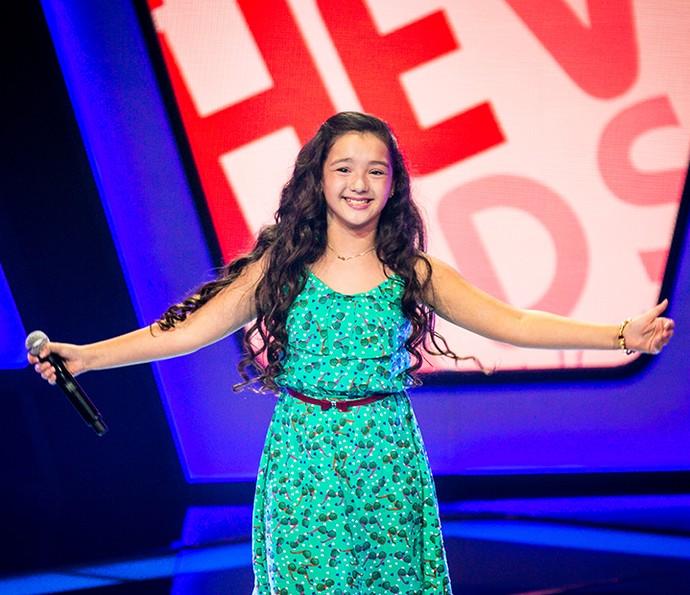 Kailane Frauches comemora aprovação em Audição no The Voice Kids (Foto: Isabella Pinheiro/Gshow)