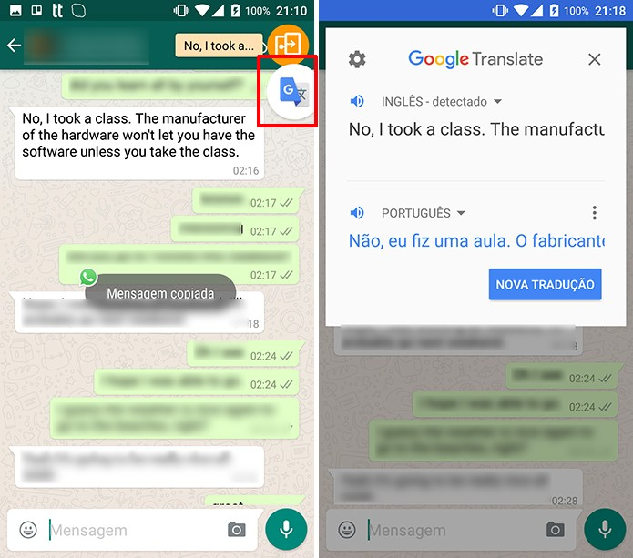 Google Tradutor oferecerá bolha para tradução similar a conversas do Messenger (Foto: Reprodução/Elson de Souza)