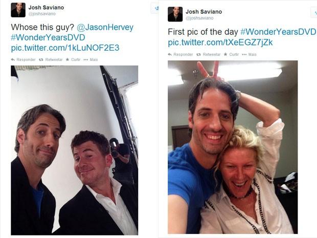 Josh Saviano (Paul Pfeiffer) ao lado de Jason Hervey (Wayne Arnold) e Alley Mills (Norma Arnold) no reencontro do elenco de 'Anos incríveis' (Foto: Reprodução/Twitter/Josh Saviano)