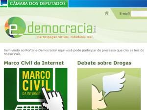 Página do site e-democracia, da Câmara dos Deputados (Foto: Reprodução)