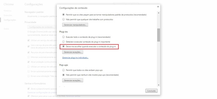 Vá em plug-ins e altere a configuração (Foto: Reprodução/Google Chrome)