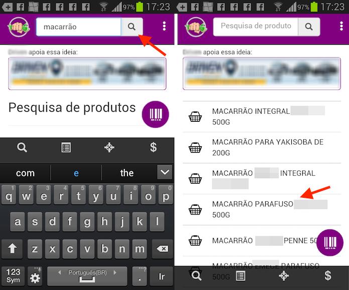 Opção para pesquisar um produto em supermercados no aplicativo Murrinha (Foto: Reprodução/Marvin Costa)