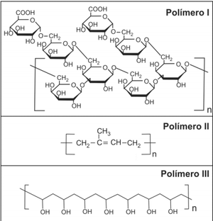 Fórmulas estruturais dos polímeros (Foto: Reprodução/Fuvest)