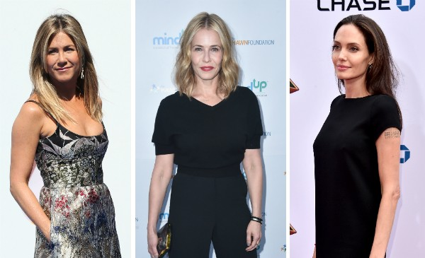 Jennifer Aniston, Chelsea Handler e Angelina Jolie (Foto: Getty Images)