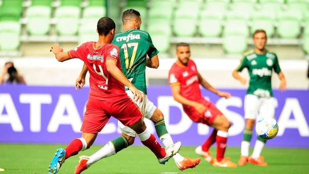 Leandro Pereira comemora gol do Palmeiras contra o Audax-SP (Foto: Marcos Ribolli)