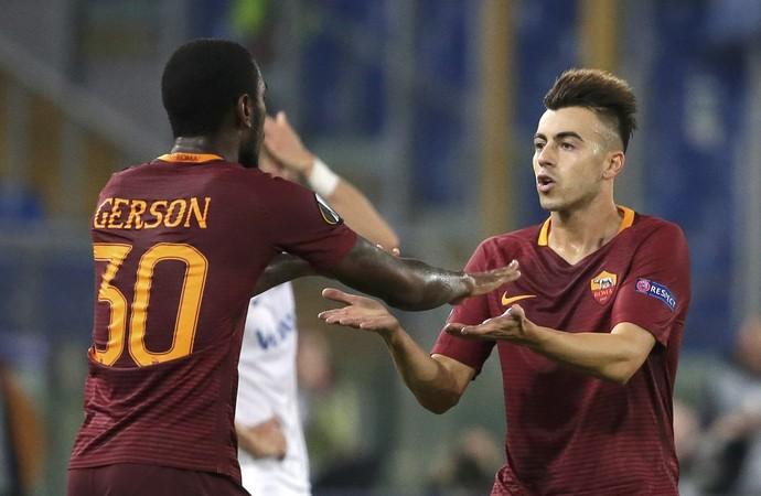 Gerson e  El Shaarawy, Roma x Austria Viena (Foto: REUTERS/Max Rossi)