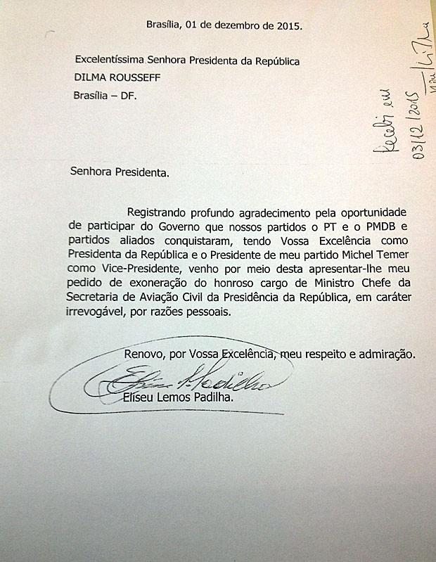 Carta de demissão do ministro da Aviação Civil, Eliseu Padilha (Foto: Reprodução)