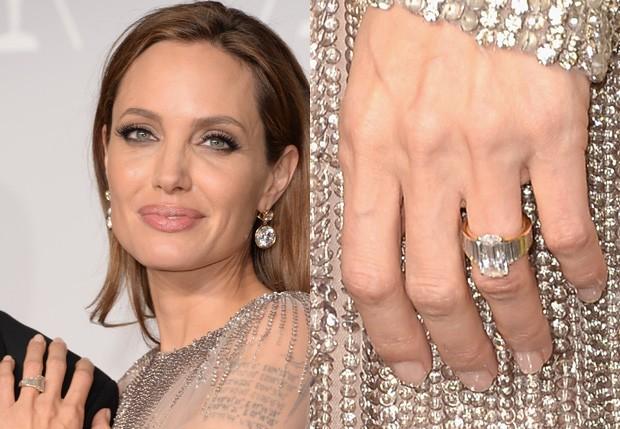 Angelina Jolie com aliança de 850 mil reais (Foto: Jason Merritt/Getty Images)