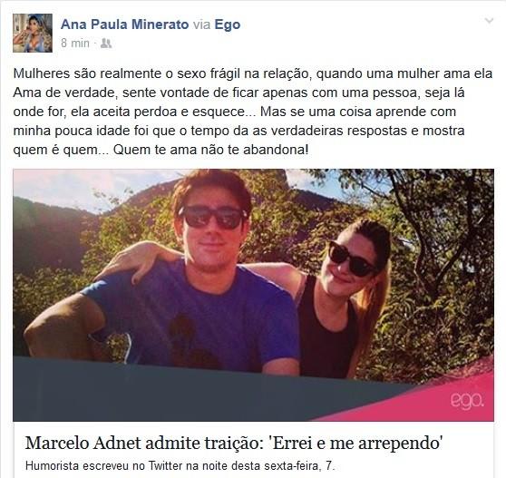 Ana Paula Minerato comenta traição de Adnet (Foto: Reprodução/Facebook)