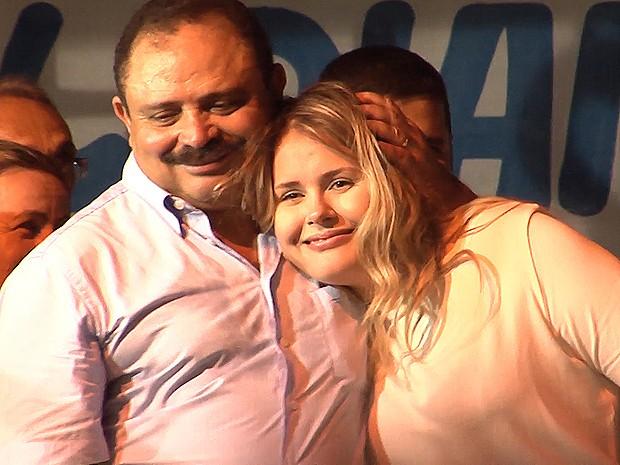 Deputado federal Waldir Maranhão (PP) participou de ato em Bom Jardim (MA) (Foto: Reprodução / TV Mirante)