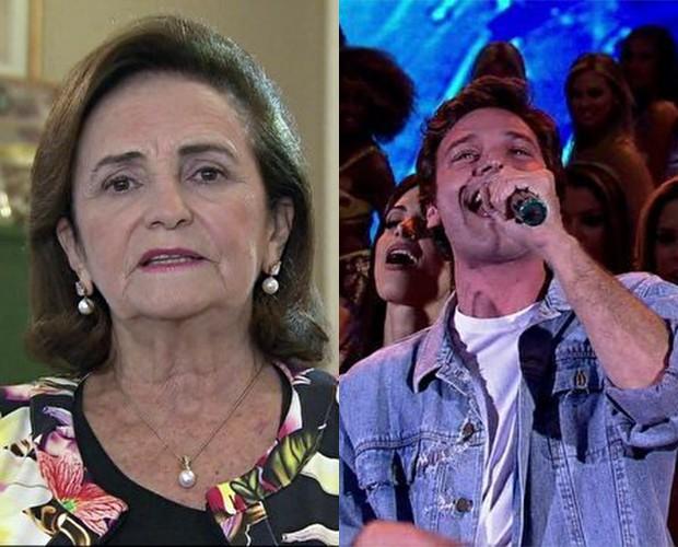 Lucinha Araújo elogia performance de Emílio Dantas (Foto: Domingão do Faustão / TV Globo)