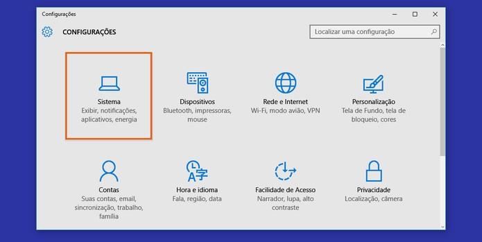 Clique no item de sistema nas configurações do Windows (Foto: Reprodução/Barbara Mannara) (Foto: Clique no item de sistema nas configurações do Windows (Foto: Reprodução/Barbara Mannara))