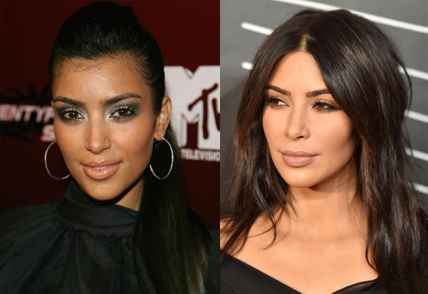 Antes (2006) e depois (2016) de Kim Kardashian (Foto: Michael Buckner e Dimitrios Kambouris / Getty Images)