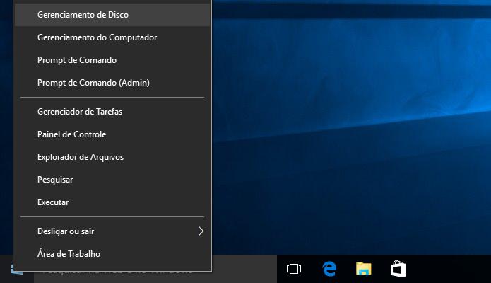 Abra o gerenciador de discos do Windows (Foto: Reprodução/Helito Bijora)