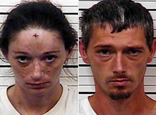 Erin Brooke Lawson e Johnny Allen Richards agrediram vizinho que reclamou do sexo barulhento (Foto: Hawkins County Sheriff 's Office)