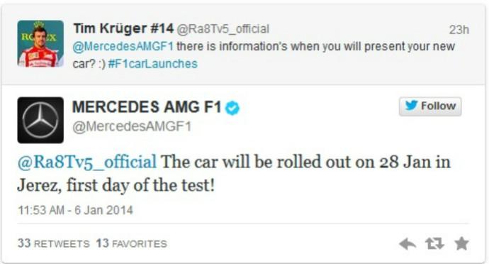 Mercedes anuncia carro para 2014 (Foto: Divulgação/twitter)