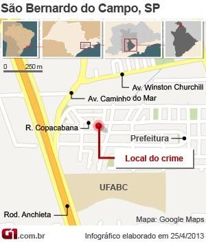 Mapa mostra local do crime em São Bernardo (Foto: Editoria de Arte/G1)