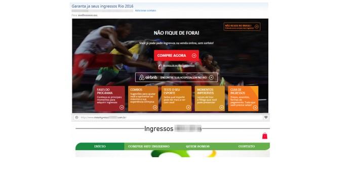 Sites falsos oferecem venda de ingressos em golpe online (Foto: Divulgação/Kaspersky Lab)