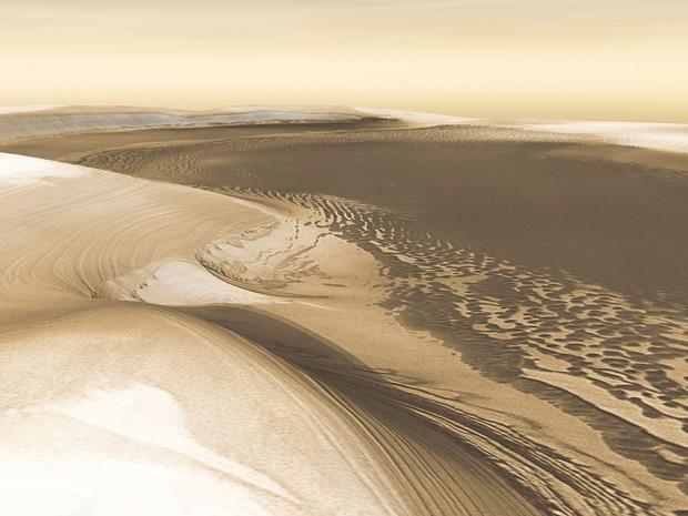 Imagem de arquivo mostra imagem 3D da Nasa criada mostrando a superfície do planeta (Foto: NASA/JPL/Arizona State University, R. Luk/Handout)