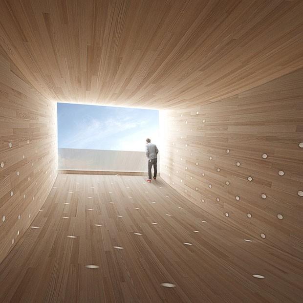 London Design Festival: instalação de madeira simula um sorriso (Foto: divulgação)
