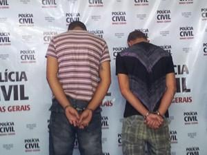 Suspeitos foram apresentados hoje de manhã (Foto: Reprodução/TV Integração)