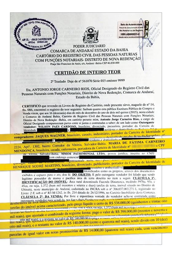 O PREÇO Escritura Imóvel de Jaques Wagner na chapada  (Foto: Reprodução)