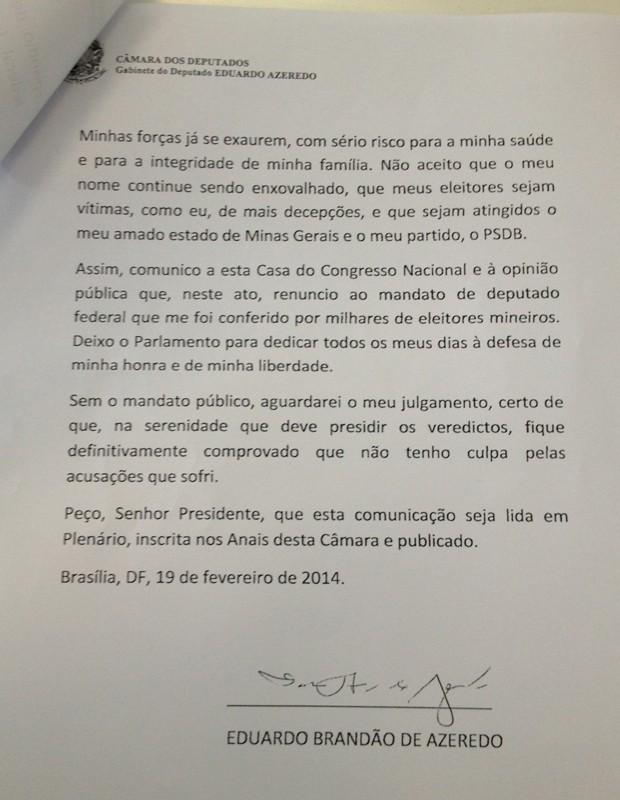 Página da carta de renúncia entregue pelo filho de Azeredo à Câmara (Foto: Reprodução)