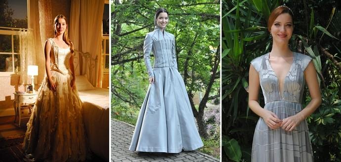 Os vestidos usados em Paraíso, Cordel Encantado e Joia Rara (Foto: Thiago Prado Neris/TV Globo; Estevam Avellar/TV Globo; TV Globo)