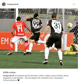 Fred comemora gol na última partida, contra o Internacional (Foto: Reprodução/ Intagram )