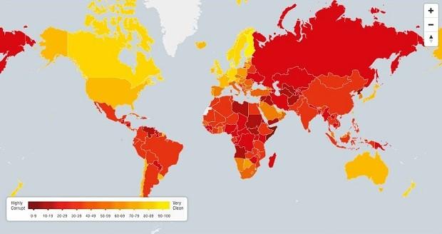 Mapa mostra diferença entre os países em corrupção no setor público (Foto: (Reprodução: Transparência Internacional))