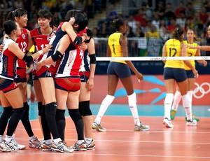 Comemoração, Brasil x Coreia do Sul, Vôlei (Foto: Agência Reuters)