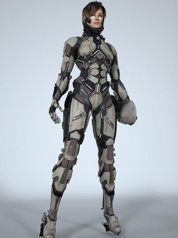 Boneca de filme de ficção científica com armadura detalhista