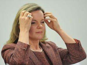 A ministra Gleisi Hoffman durante audiência na Comissão de Agricultura da Câmara (Foto: Antonio Cruz / Agência Brasil)