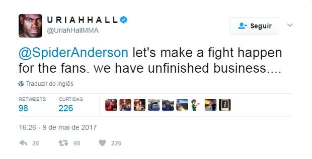 uriah hall tweet anderson silva (Foto: Reprodução/Twitter)